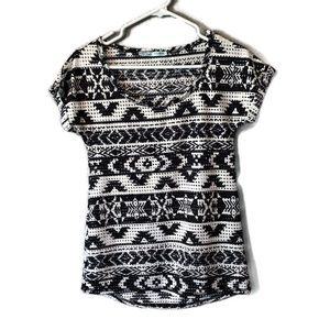 Maurice's Black and White Aztec Top